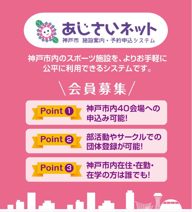 あじさいネットは、神戸市内のスポーツ施設を、よりお手軽に公平に利用できるシステムです。